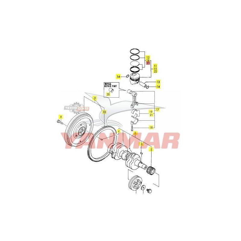 Кольца поршневые Yanmar 3TNA72